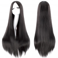 Парик черный длинный, парик 100 см без челки