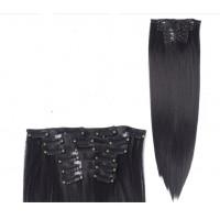 Волосы на заколках прямые черные трессы