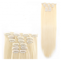 Волосы на заколках прямые блонд трессы