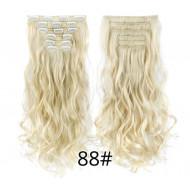 Волосы на заколках волнистые блонд трессы