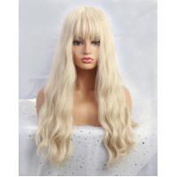 Парик блонд с челкой, парик длинные волосы, парик волнистый