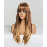 Парик золотисто-русый с челкой, парик длинные волосы
