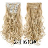 Волосы на заколках меллировка волнистые блонд трессы