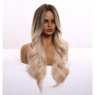 Парик блонд с затемненными корнями, парик блондинки волнистый, парик омбре