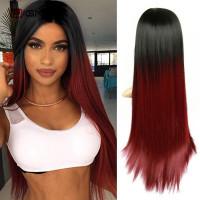 Парик омбре, парик бордовый, парик длинные ровные волосы
