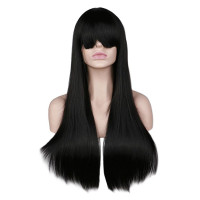Парик волосы длинные черные с челкой