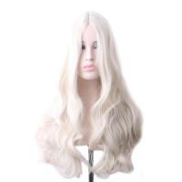 Парик платиновый блон волнистый, парик длинные волосы, парик светло-серый