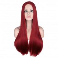 Парик бордовый без челки, парик длинные волосы прямые