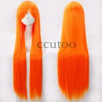 Парик оранжевый, парик прямые волосы длинные