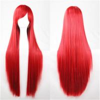 Парик красный без челки, парик прямые волосы длинные
