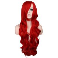 Парик красный, парик волнистые длинные волосы