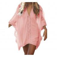 Туника пляжная розовая, туника большой размер, туника разлетайка