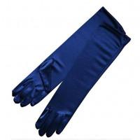 Перчатки атласные темно-синие выше локтя