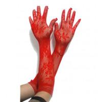 Перчатки ажурные красные, перчатки кружевные красные