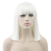 Парик каре белый прямые волосы