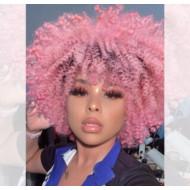 Парик кудрявый, афро парик розовый кучерявый
