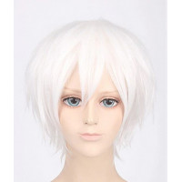 Парик белый короткий, белоснежный парик