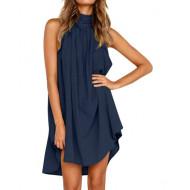 Платье летнее темно-синее пляжное, туника пляжная синяя