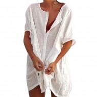 Туника пляжная белая, пляжная рубашка