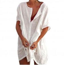 Купить Туника пляжная белая, пляжная рубашка