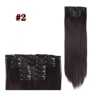 Волосы на заколках прямые темно-коричневые трессы