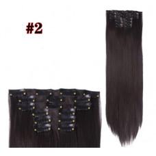 Купить Волосы на заколках прямые темно-коричневые трессы