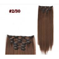 Волосы на заколках прямые коричневые трессы