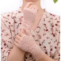 Перчатки бежевые кружевные, перчатки без пальцев кружевные