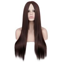 Парик коричневый, парик без челки, парик длинные волосы прямые