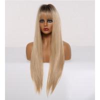 Парик блонд с челкой, парик длинные волосы, парик омбре