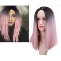 Парик розовый омбре, парик каре ровные волосы