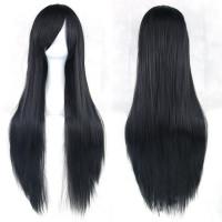 Парик черный длинные прямые волосы термо
