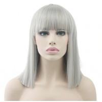 Парик каре серый, парик серый прямые волосы