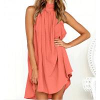 Платье летнее коралловое пляжное, туника пляжная