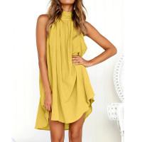 Платье летнее желтое пляжное, туника пляжная