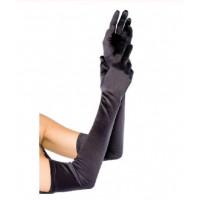 Перчатки атласные черные выше локтя