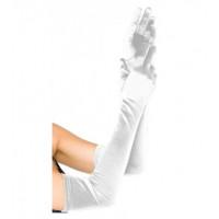 Перчатки атласные белые выше локтя