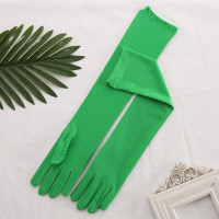 Перчатки матовые зеленые выше локтя
