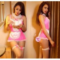 Костюм горничной платье с фартушком розовый