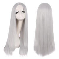 Парик серый, парик серебристый, парик длинные прямые волосы