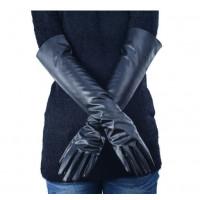 Перчатки черные длинные из искусственной кожи