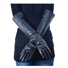 Купить Перчатки черные длинные из искусственной кожи