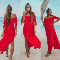 Длинная туника пляжная шифоновая, пляжный халат красный