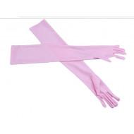 Перчатки розовые атласные выше локтя