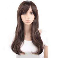 Парик коричневый волнистый, парик с челкой коричневый
