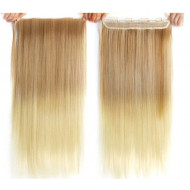 Трессы на заколках омбре светлое ровные волосы