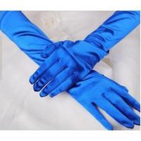Перчатки атласные синие