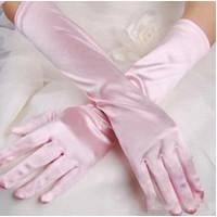 Перчатки атласные розовые