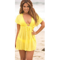 Туника пляжная желтая шифоновая