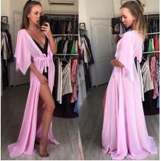 Купить Длинная туника пляжная шифоновая, пляжный халат розовый